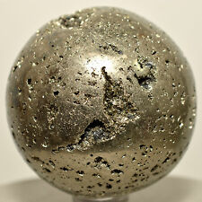 "2"" Pyrite Sphere Sparkling Natural Druzy Cubes Crystal Stone Mineral Ball - Peru"