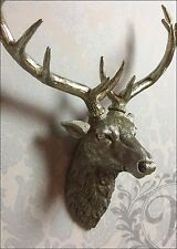 Large Antique Silver Stags Head Deer Head Wall Mounted Metal Resin Silver