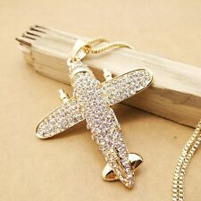Fashion Gold plating Crystal Cute aircraft sweater chain long necklace CC0336