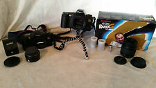 Canon EOS Rebel G film Camera (2), with 52mm Lens & Hanimex Auto Conv Bundle