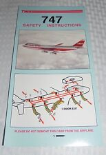 TWA BOEING 747 SAFETY INSTRUCTIONS CARD EXCELLENT CONDITION 5/91