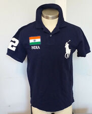 POLO RALPH LAUREN MEN'S NAVY BLUE POLO SHIRT WITH INDIA EMBROIDERY SIZE M