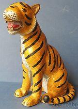 Antique Chinese Cloisonne Enamel Tiger Statue Figurine Copper Quinlong 1736-1795