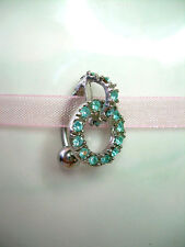 Reverse Hung Belly Navel Ring 14g BR3 Aqua CZ Linked Rings Petite Lite Weight