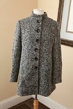 Ann Taylor Black White Tweed Single Breasted Peacoat Long Jacket Coat Sz 6