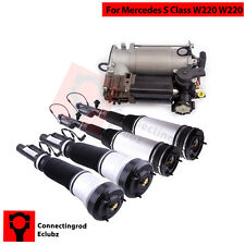 Front Rear Air Suspension Struts + Air Pump Compressor for Mercedes S-Class W220
