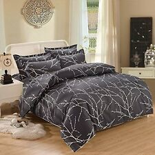 3 Piece Duvet Cover and Pillow Shams Bedding Set, 100% Cotton King Size, Black