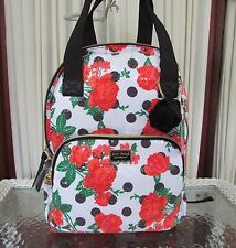 Betsey Johnson Sequin Roses Polka Dots Backpack Diaper Travel Bag Tote NWT $108