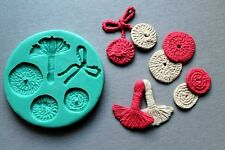 Silicone Mould STITCH CIRCLES AND TASSEL Sugarcraft Cake Decorating fondant