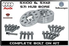 4 Pc Set VolksWagen 20 MM Thick Hub Centric Wheel Spacers 57.1 W/ Lug Bolts