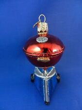 Barbeque Grill Chef Food Old World Christmas Ornament Glass Blown NWT 32189