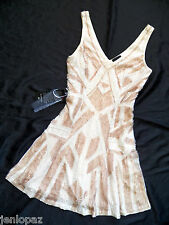 $500 NWT Bebe addiction beige sequins embellished flare skirt top dress sexy S