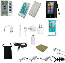 13 ITEM ACCESSORY BUNDLE FOR APPLE IPOD NANO 7TH GEN EARPHONES 3 CASES