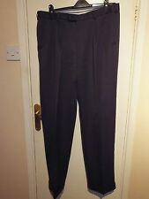 40s 50s VINTAGE STYLE MENS navy TROUSERS double pleats TURN UPS W36 L31 reg