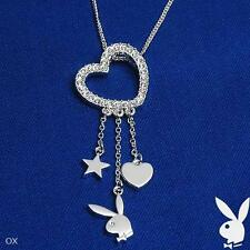 Playboy Necklace Swarovski Crystal Open Heart Pendant Bunny Logo Star Charms NOS