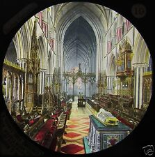 Glass Magic Lantern Slide WORCESTER CATHEDRAL CHOIR C1890 ENGLAND .. PHOTO