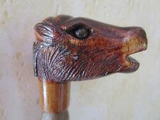 poignée de canne/parapluie -animal en bois sculpté main polychrome -chevreuil
