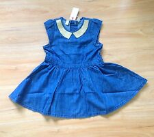 NWT ESPRIT Baby Girls Sparkle Collar Denim Party Dress Size 24 Months (J5)