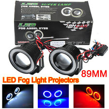 3.5Inch 89mm LED COB Fog Light Lamp Projector Lens Bulb DRL Angel Eyes Halo Kit