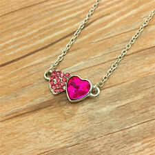 Fashion Jewelry Rhinestone Rose red double heart Pendant Necklace AA35