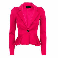 New Womens Ladies Long Sleeves One Button Panel Blazer Frill Peplum Jacket Top
