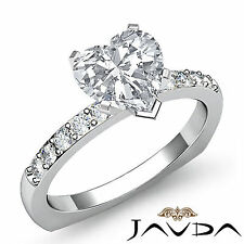 Heart Cut Diamond Cathedral Pave Engagement Ring GIA I VS2 14k White Gold 1.2 ct