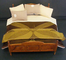 1:12 Dolls House Miniature Hand Made Double Duvet & Footer Bedroom Accessory G