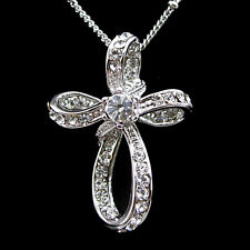 Elegant Little Cross USE Austria Crystal 18K White Gold-Plated Necklace
