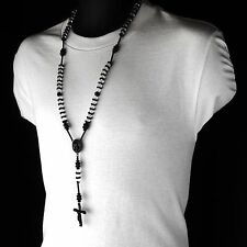 Men Hip Hop 8mm BLACK CLEAR Crystal Cut Rosary Pray Hand & Jesus Cross Necklace