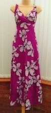 MONSOON MAHIKI CERISE BLACK WHITE FLORAL SILK COTTON HALTER MAXI DRESS 10 TWICE
