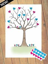 Baby Shower Prediction Tree - 30x Love Heart Stickers - A4 Boy/Girl Party Game