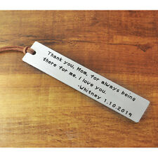 Personalized bookmark, Custom Metal bookmark, Hand stamped Gift for Mother