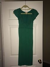 Women Size 14- Marshall's Green Dress With Ruffled Scoop Neck