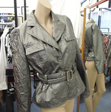 Joseph Ribkoff BNWT 10 Glorious Metallic Grey Crinkle Effect Safari Jacket Coat