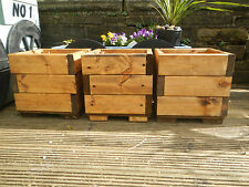 3 square chunky wooden garden planters treated plant pot