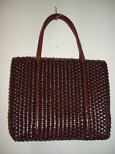 NINE WEST Classic Vintage Basketweave Brown Mini Handbag