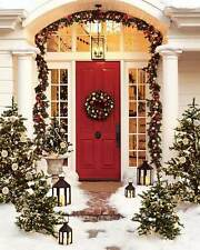 "Pottery Barn Christmas Outdoor Indoor Pine Wreath Medium 22"" Gold Silver NEW"