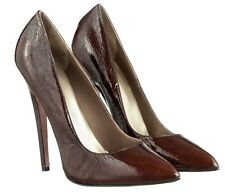 MORI MADE IN ITALY SKY HIGHEST HEELS PUMPS SCHUHE SUEDE LEATHER BROWN MARRONE 44