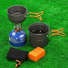 Outdoor Camping Cookware w Piezoelectric Ignition Stove Backpacking Pot Set H1N6