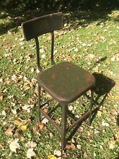 Vintage LYON Industrial DRAFTING STOOL Steampunk ARMY GREEN Metal Chair MACHINE