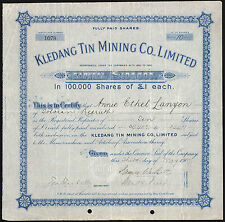 Malaya: Kledang Tin Mining Co. Ltd., pair of certificates, 10/- and £1 shares