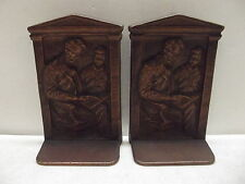 ART DECO BRONZE PATINA 1922 O P MULLER CAST IRON ABRAHAM LINCOLN BOOKENDS