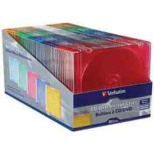 VERBATIM Case CD / DVD Slim 5 Assorted Colors 50pk, NEW, Free Shipping