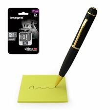 New HD Black & Gold Spy Pen Hidden Camera Cam Video DVR + 32GB Micro SD Card