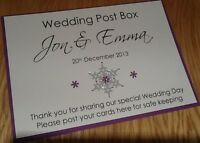 Handmade Personalised Wedding Post Box / Wishing Well Sign - winter snowflake