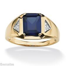 MENS 18K GOLD BLUE SAPPHIRE DIAMOND ACCENT OVER STERLING  RING 8 9 10 11 12 13