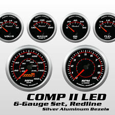 C2 Redline 6 Gauge Set, Silver Bezels, 0-90 Ohm Fuel Level, Electric Speedo