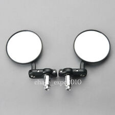 """Motorcycle CNC Aluminum 3"""" Round Rearview Handle Bar End 7/8"""" Side Mirrors Black"""