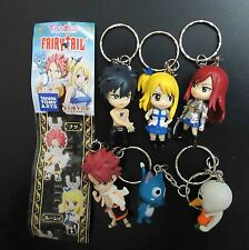 lot of 6 Fairy Tail Natsu Happy Lucy Gray Elza Keychains Keyrings figure set #f6