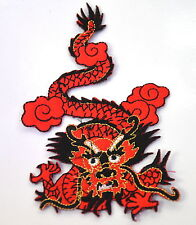 CHINESE RED DRAGON Embroidered Iron Sew On Cloth Patch Badge  APPLIQUE